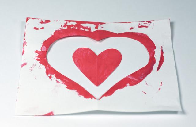 Tarjeta del día de San Valentín de papel.