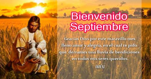 Imagen de Jesús en el campo con frase de septiembre http://fechaespecial.com/