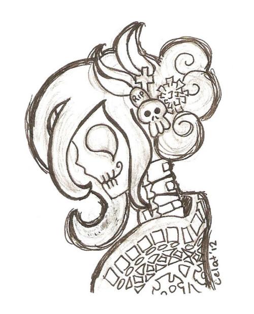 Imagenes De Calaveras Con Flores Para Dibujar